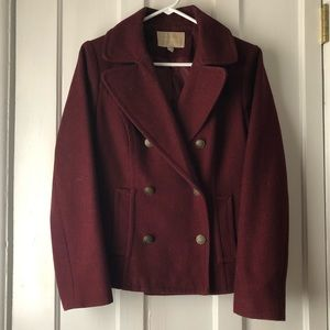 Banana republic short pea coat in burgundy